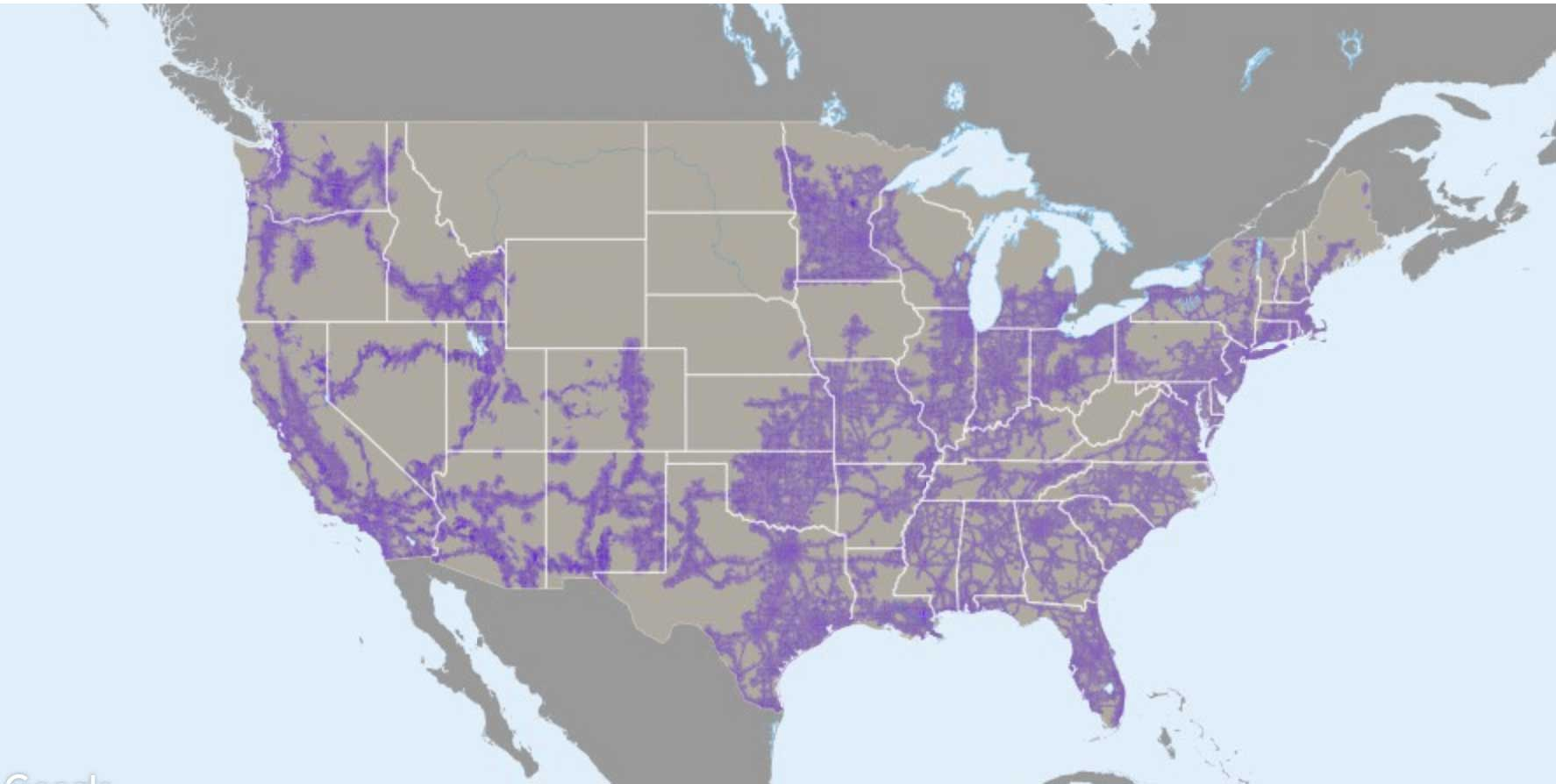 T-Mobile coverage map without LTE band 12